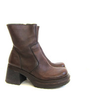 vintage dark brown leather boots. tall boots. chunky heel boots. women's 8