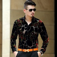 3 Color Spring Long Sleeve Men's Shirts Male Velvet Formal Men Full Sleeve Dress Shirt For Man Slim Masculina Camisa