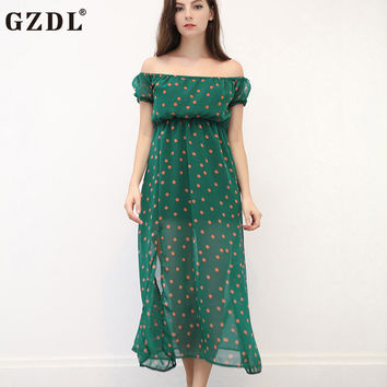 GZDL Beach Dress Women Off Shoulder Polka Dot High Side Split High Waist Boho Casual Long Maxi Dress vestido de verao CL3008