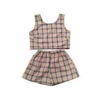 Beige Tartan Plaid Top and Shorts Two Piece Co-ord Check Womens Fashion Clothing Summer Festival Party Daytime