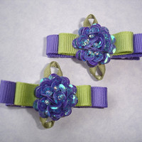 Sequin Flower Hair Clips - hair bow barrette - purple and green handmade