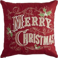 Merry Christmas Pillow - Red