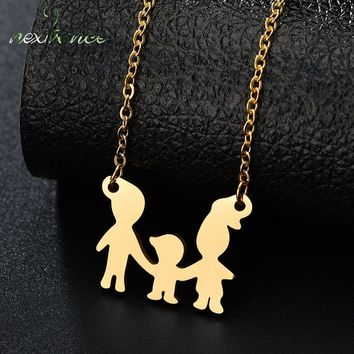 Nextvance Baby Boy Father Mother Son Necklace Family Love Choker Necklaces for Valentines Day Gift Joyeria