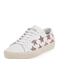 Saint Laurent Glitter Star Leather Low-Top Sneaker, Off White/Multi