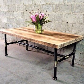 Corvallis Industrial Chic Coffee Table In Brushed Brass Gray Steel Combo With Natural Stained Wood