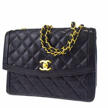 Auth CHANEL CC Logos Quilted Chain Shoulder Bag Leather Black France 608X028