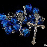 Royal Blue & Black Rondelle Glass Bead 1 Decade Pocket Auto Rosary