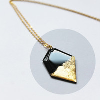 upcycled necklace vinyl record jewelry black and gold pendant necklace recycled jewelry modern necklace geometric gold pendant long necklace