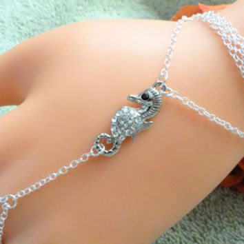 Genuine Sterling Silver Sea Horse Hand Chain. Slave Bracelet, Hand Harness, Body Chain, Body Jewelry, Infinity Ring