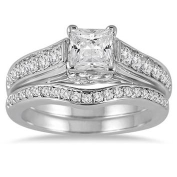 1 3/5 Carat Princess Diamond Bridal Set in 14K White Gold