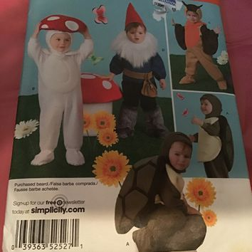 Simplicity Pattern Costume 2527 6M - 4 yrs baby children, turtle mushroom gnome