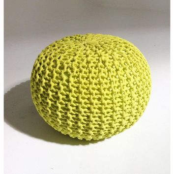 Handmade Round Knitted Pouf | Sunny Lime | 50x35cm | GFURN