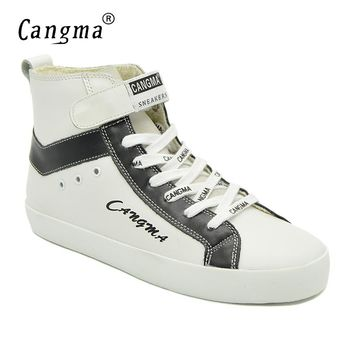 CANGMA Italian Luxury Brand Women Shoes Ankle Boots Woman's Autumn Handmade White Sneakers Genuine Leather Shoes Boots Female