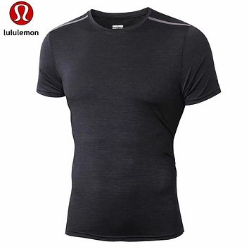 """lululemon""Men's casual air solid all-match quick dry short sleeved T-shirt"