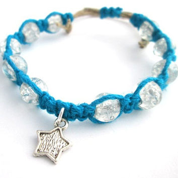 Star Bracelet Silver Star Charm Adjustable Womens Bracelet Blue Hemp Bracelet Ecofriendly Clear Glass Bead Jewelry