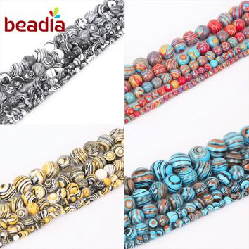 Synthetic New 4/6/8/10/12mm Bead Round Mixed Color Loose Malachite Stone Bead DIY Jewelry For Craft Making Strand 15''