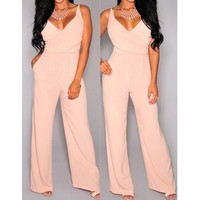 Stylish Plunging Neck Sleeveless Solid Color Pocket Design Women's Jumpsuit | Kitty's Clawset