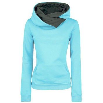 Casual Solid Lapel Hooded New Pullovers Turn-down Collar Sweatshirt