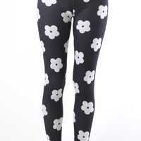 White Flower Footless Print Leggings