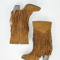 Fascinating Fringe Boots in Rust