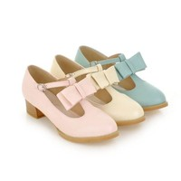5290 Korean Women Ladies 3 Colors Bow T Strap Mary Jane Mid Heel Shoes 34-39
