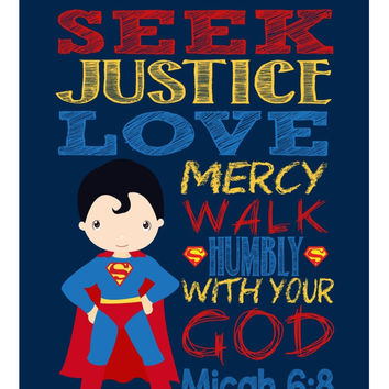 Superman Christian Superhero Nursery Decor Wall Art Print - Seek Justice Love Mercy - Micah 6:8 Bible Verse - Multiple Sizes Available