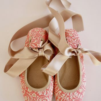 DOLLY by Le Petit Tom ® JACQUARD BALLERINA'S 15BALVIV neon coral pink