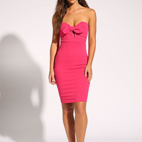 Fuchsia Bow Front Bodycon Dress