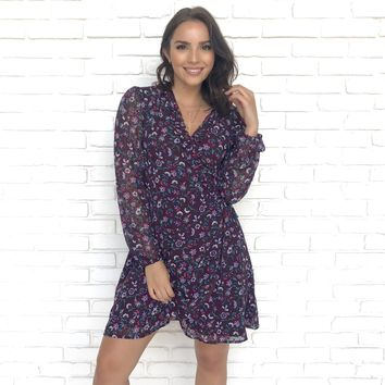 Floral Believer Wrap Dress in Purple