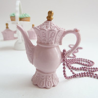 Teapot  necklace Pendant alice in wonderland miniature by shimrita