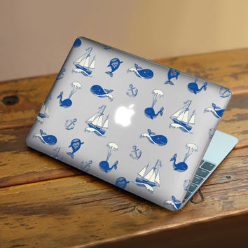 Macbook Rubberized Hard Case, Whale and Boat Design with Clear Bottom Case