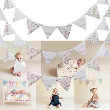 Butterfly White Lace Flag 12 Flags 3.2M Bunting Pennants Banners for Wedding Birthday Party Decor Baby Shower Supplies