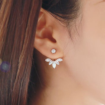 2016 Fashion Earing Big Crystal Silver Plated Ear Jackets Jewelry High Quality Leaf Ear Clips Stud Earrings For Women 1 Pair