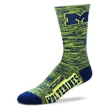 MICHIGAN WOLVERINES RMC CREW SOCKS SIZE LARGE BRAND NEW FOR BARE FEET