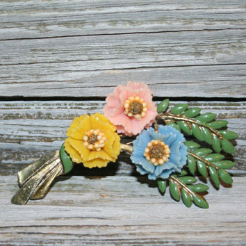 Vintage Brooch Flower Spray Floral Spring Jewelry Celluloid Enamel Pot Metal Plastic Colorful Green Pink Yellow Blue Mothers Day Gift