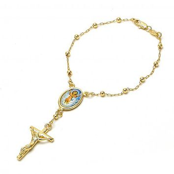 Gold Layered 03.65.1152.1.08 Bracelet Rosary, Divino Niño and Crucifix Design, Polished Finish, Golden Tone
