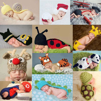 Cute !! 2017 New Soft Newborn Baby Photography Props Baby Hat Baby Cap Infant Clothes Set Newborn Crochet Outfits For Girls/Boys