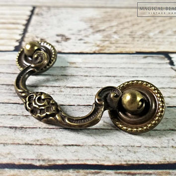 Keeler Brass Drop Bail Pull   Antiqued Brass Drawer Pull   Decorative Drawer Pull   Brass Drawer Pull   Vintage Dresser Drawer Pull Handles
