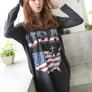 American Flag Pattern Printed Midi Length T-Shirt