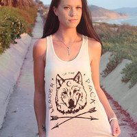 Leader of the Pack Wolf Tank Top // Boho Clothing - Aztec Tribal Arrow Shirt // Women's Back to School Shirt // Witch Wicca Shirt