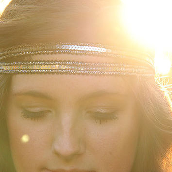 Shine On, Sequin double strand headband in Radiant Silver