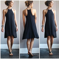 A Halter Cut Tee Dress in Black
