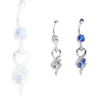 Sexy Heart Dangle Belly Rhinestone Navel Ring Surgical Steel Button Piercing Jewelry = 1652961412