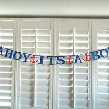 Ahoy It's a Boy Banner Nautical Baby Shower Banner Paper Garland Photo Prop