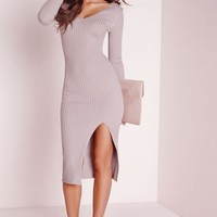 Missguided - Long Sleeve Split Midi Dress Mauve