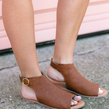 Out for Coffee Brown Open Toe Flat