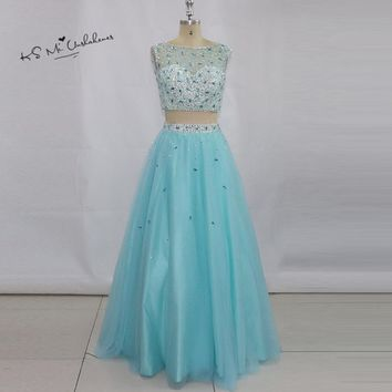 Ballkleider Sky Blue 2 Piece Prom Dresses 2017 Rhinestones Long Formal Evening Gowns Graduation Dress Backless Vestidos de Baile