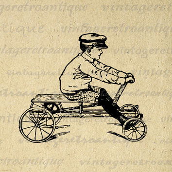 Old Fashioned Boy with Toy Car Digital Printable Graphic Childrens Wagon Image Download Antique Clip Art HQ 300dpi No.1793