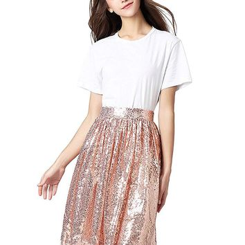 US 2018 Sequins Midi/Knee Length Party Skirt for Juniors and Women
