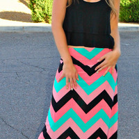 SWEET TREAT CHEVRON MAXI SKIRT
